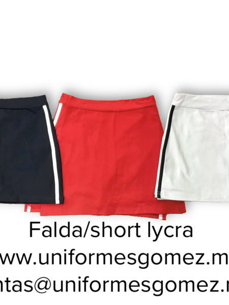 Faldas short lycra para deportes o uniforme