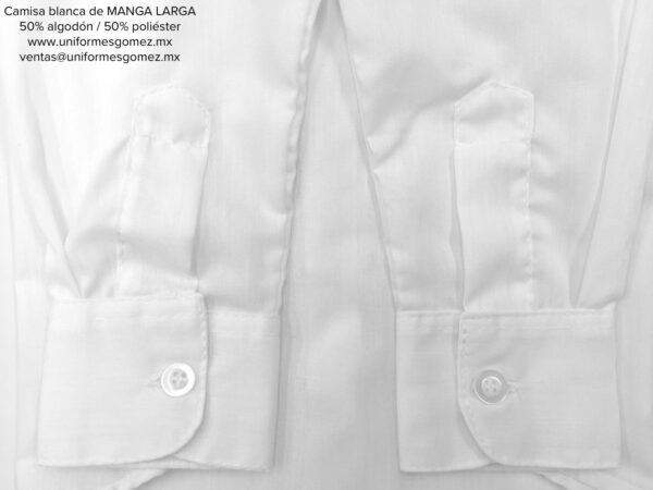 camisa blanca manga larga uniformes Gomez detalle