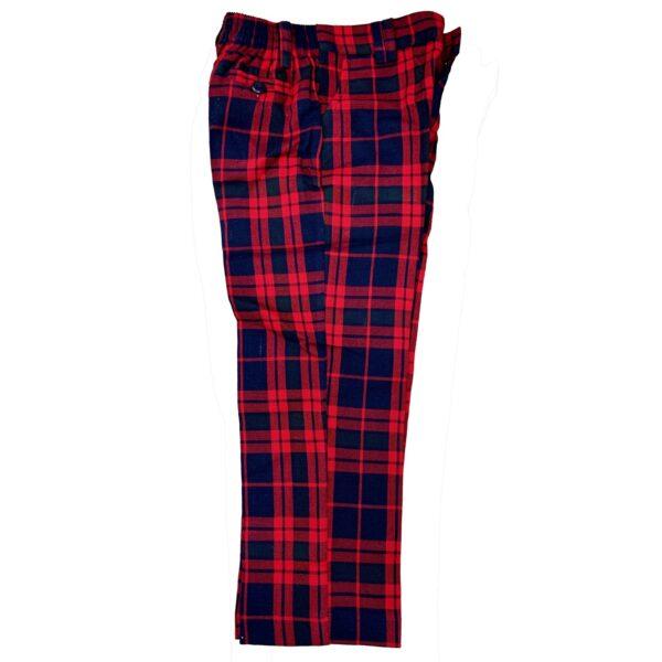 Pantalon escocés escolar cuadros rojos
